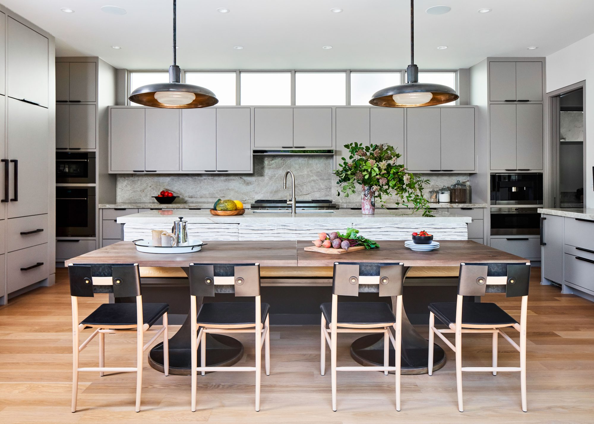 Kitchen with Large Island and Morris Gray Painted Cabinets