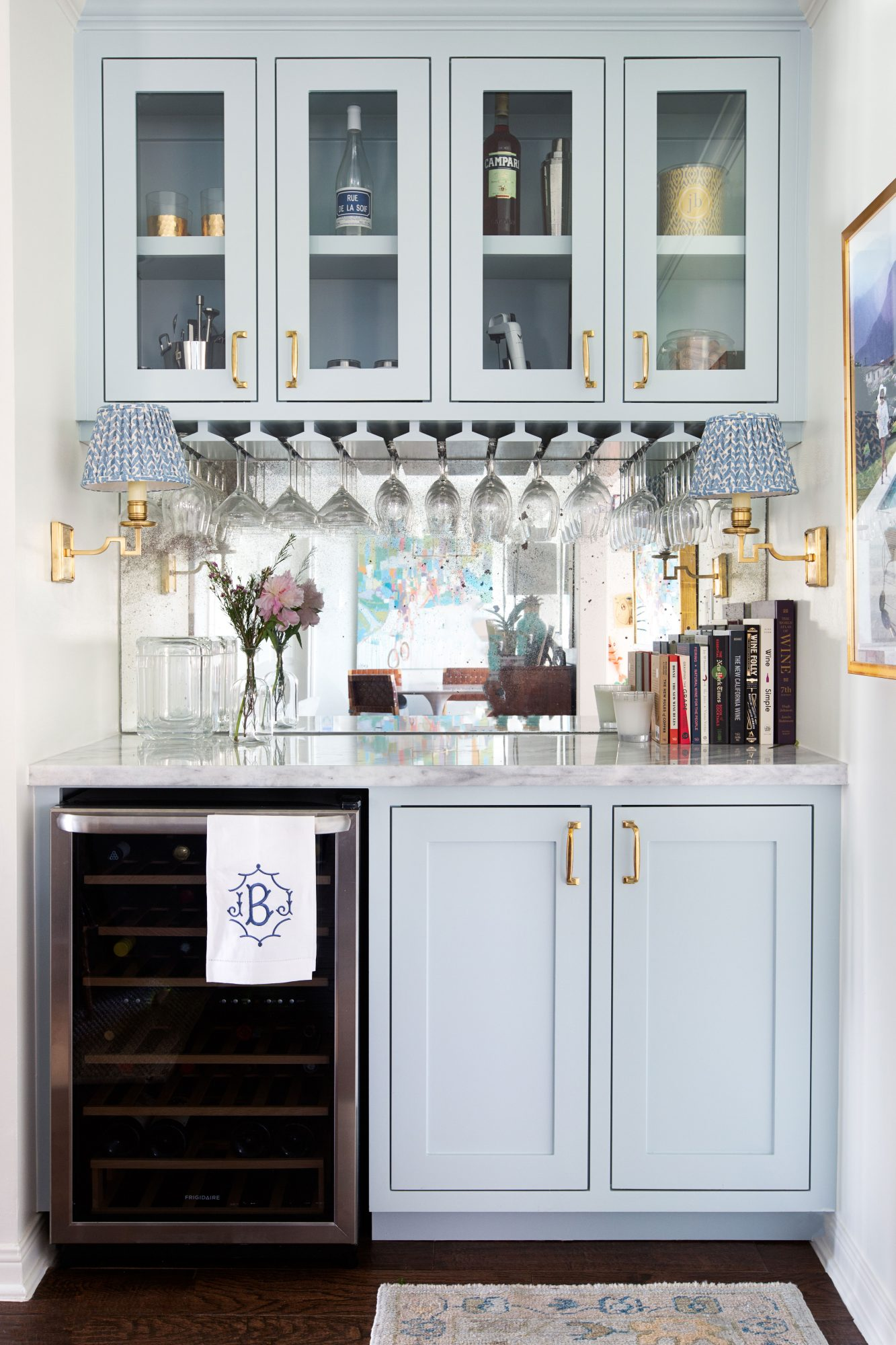 Home Built-In Bar Painted Silvery Blue by Benjamin Moore