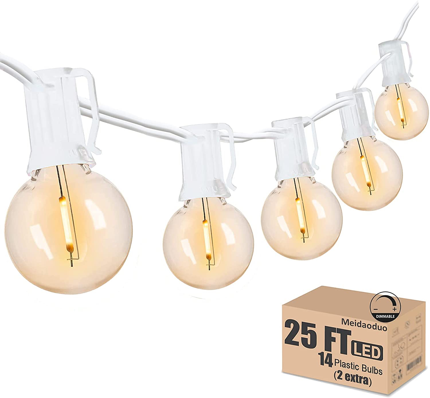 Meidaoduo Globe LED String Lights in White