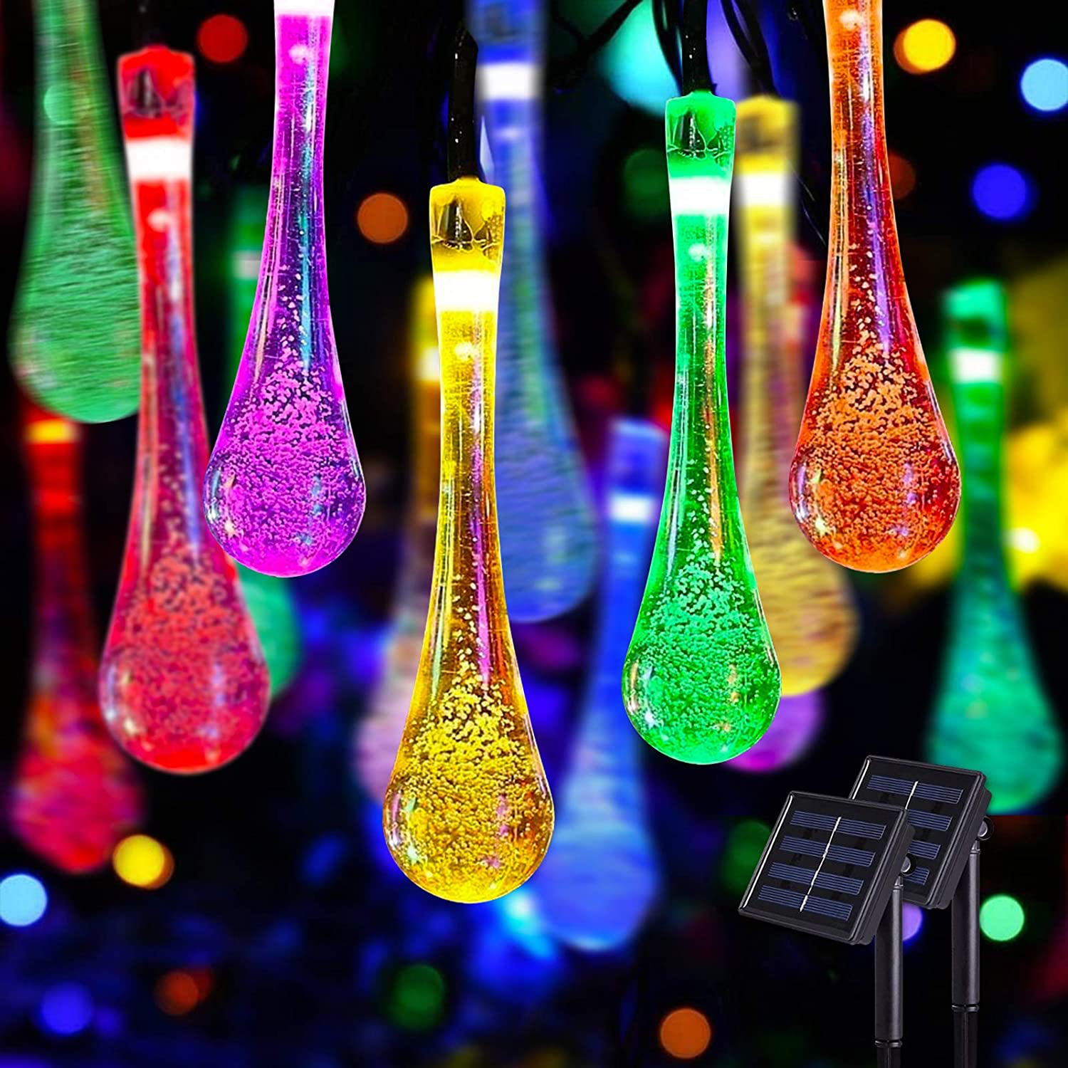 Jmexsuss Solar Multicolor Water Drop String Lights