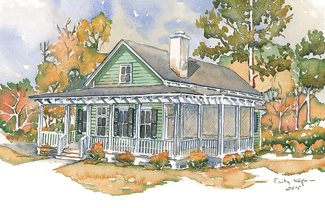 Empty nesters will flip for this Lowcountry cottage. This one-story plan features amble porch space, an open living-and-dining area, and a cozy home office. The bedrooms are tucked away from all the action in the back of the house.                             Two bedrooms, two baths                             1,422 square feet                             See plan: Woodward (SL-1876)