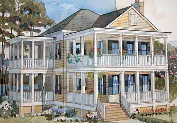 If a coastal lifestyle is what you're after, check out the Couples Cottage. This plan is a retiree's dream, with plenty of room inside for entertaining and two stories of pretty porches (open-air and screened!). Upstairs, the two bedrooms each have a private bath and access to their own personal porch.                             Two bedrooms, two-and-a-half baths                             2,090 square feet                             See plan: Couples Cottage (SL-1120)