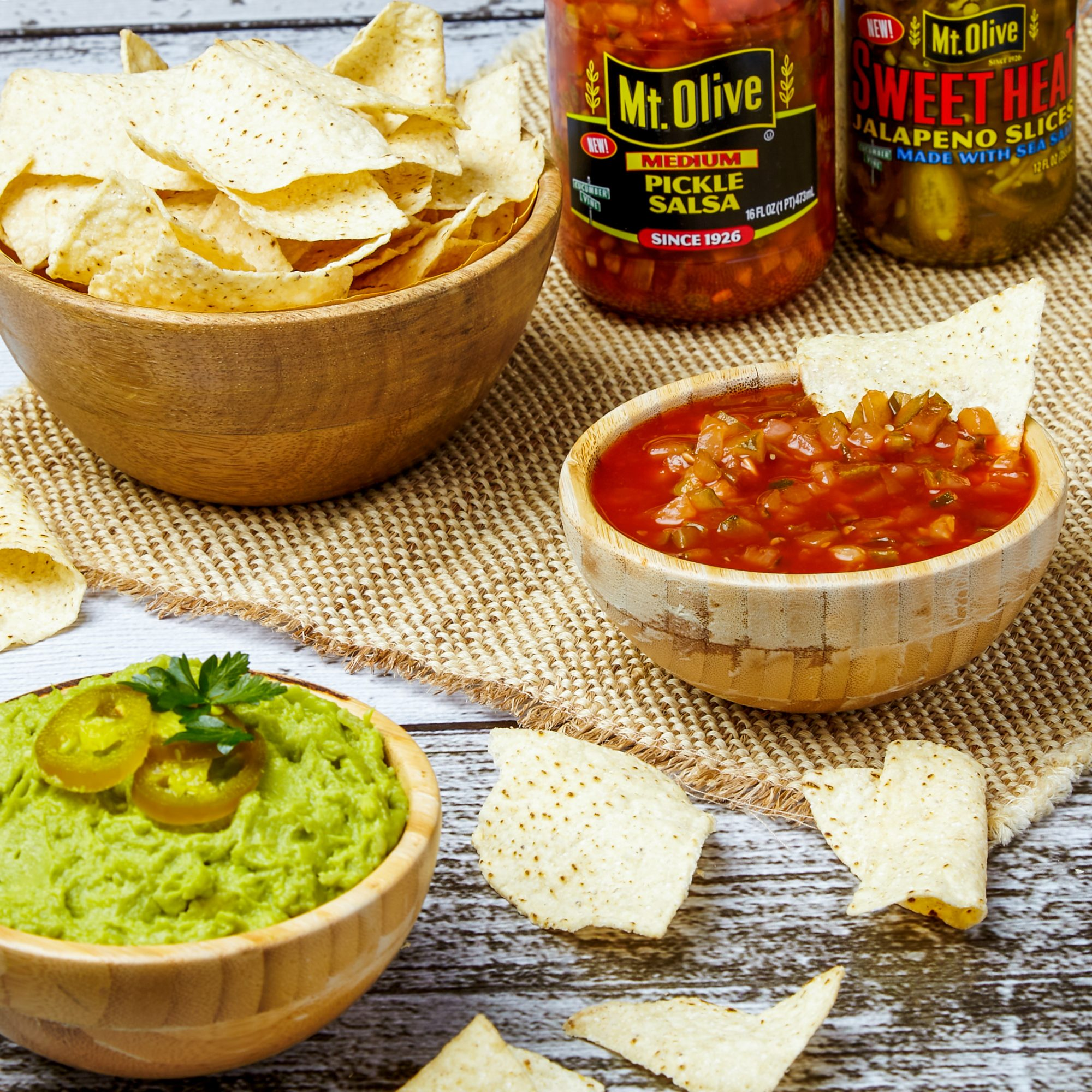 Mt. Olive Pickles Co. Salsa and Chips and Guacamole