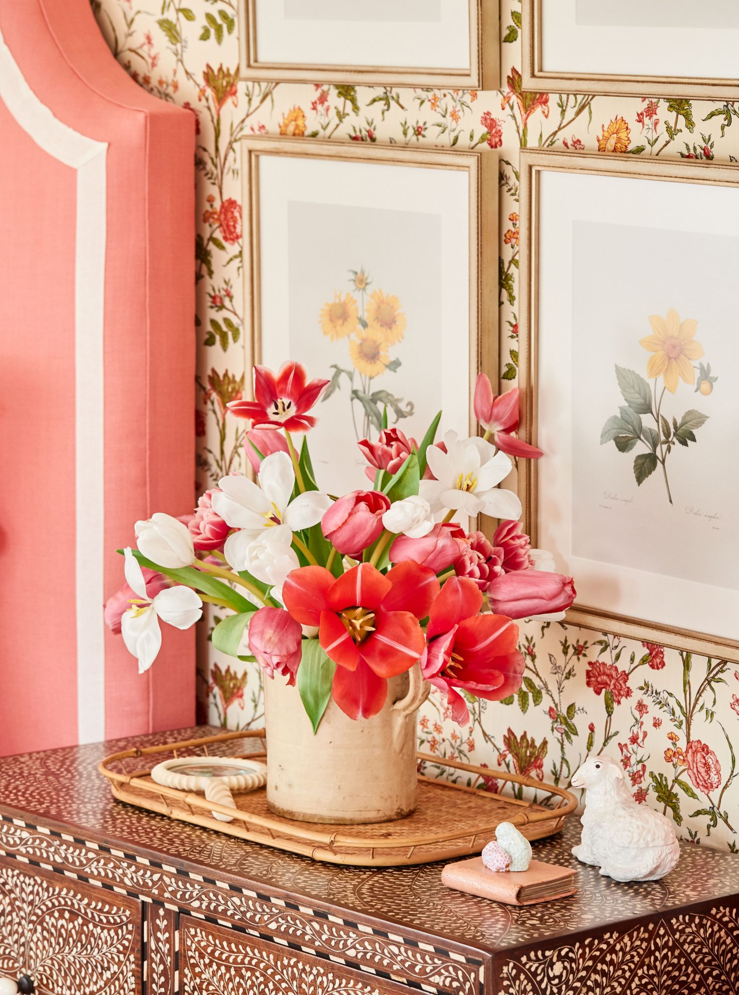 Pink and white tulip floral arrangement