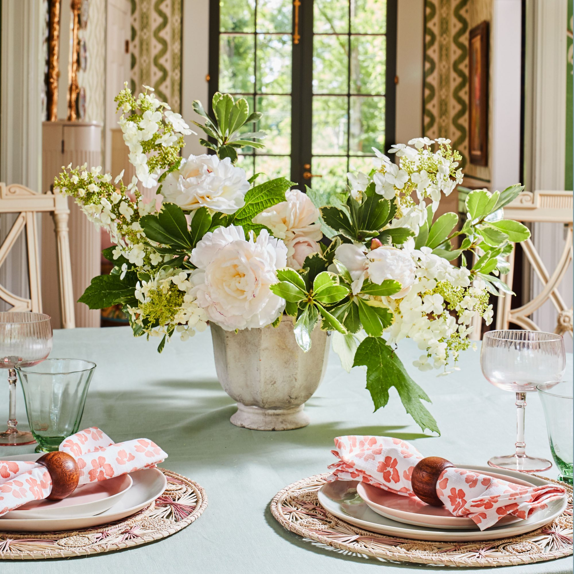 Oakleaf Hydrangea and peony centerpiece on dining room table