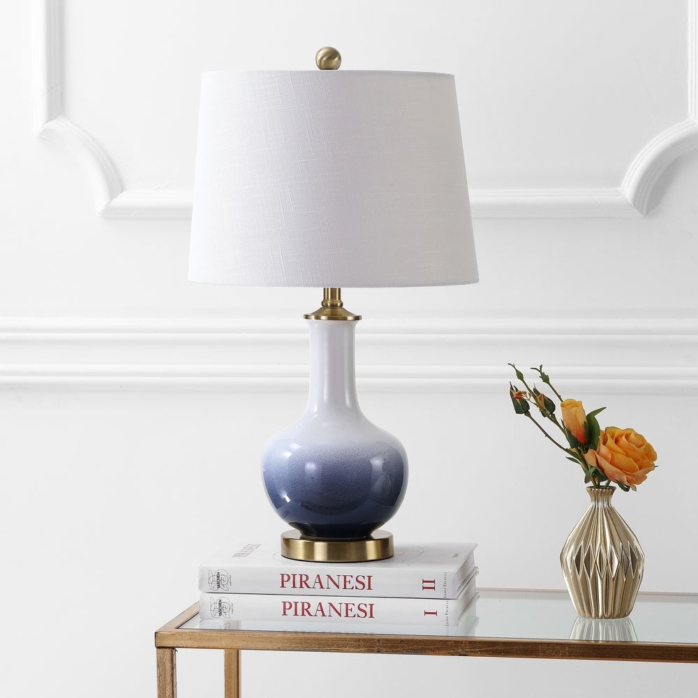 Gradient Ceramic and Brass Table Lamp