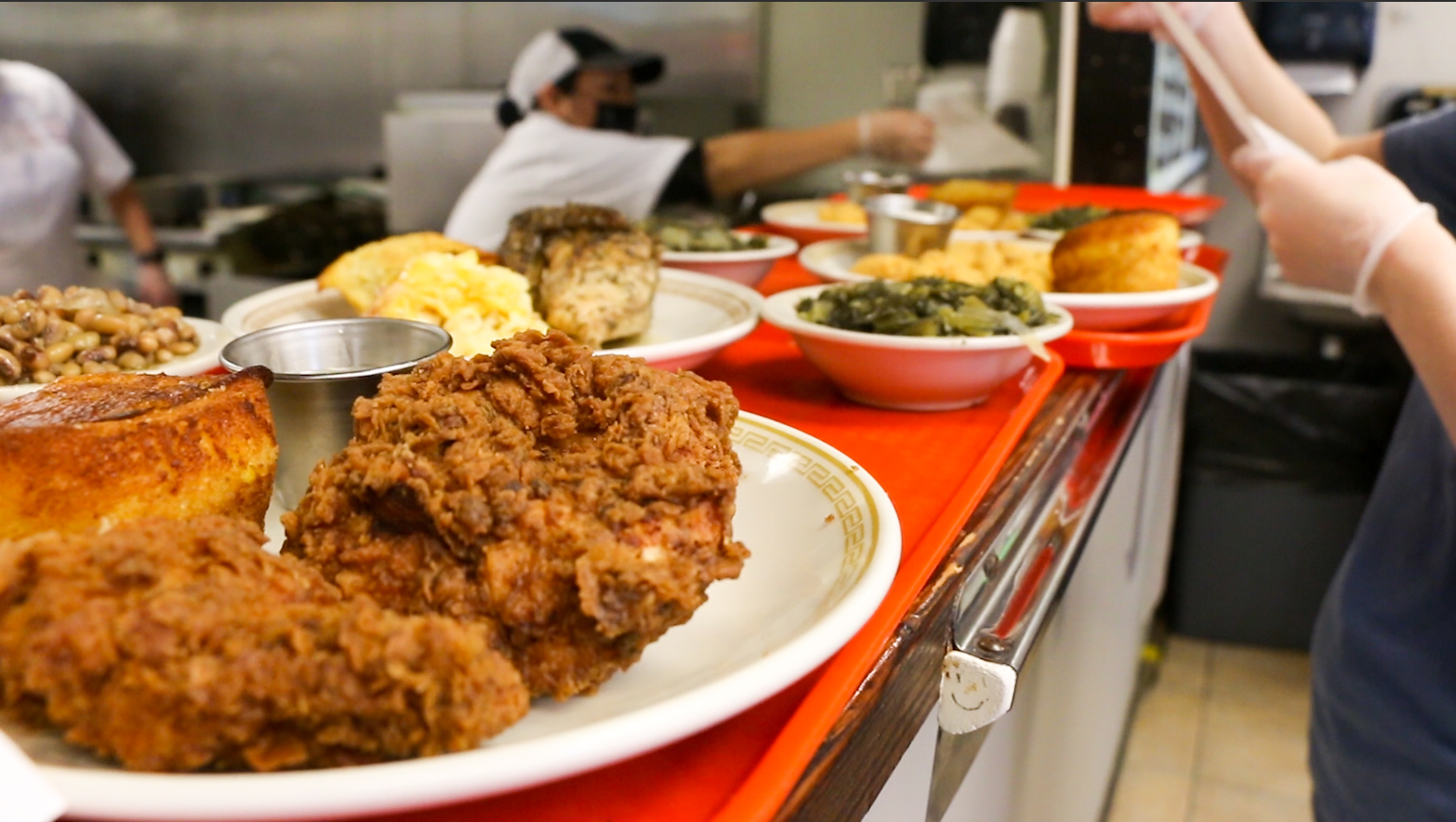 Fried chicken and sides at Johnny's Restaurant in Homewood, AL