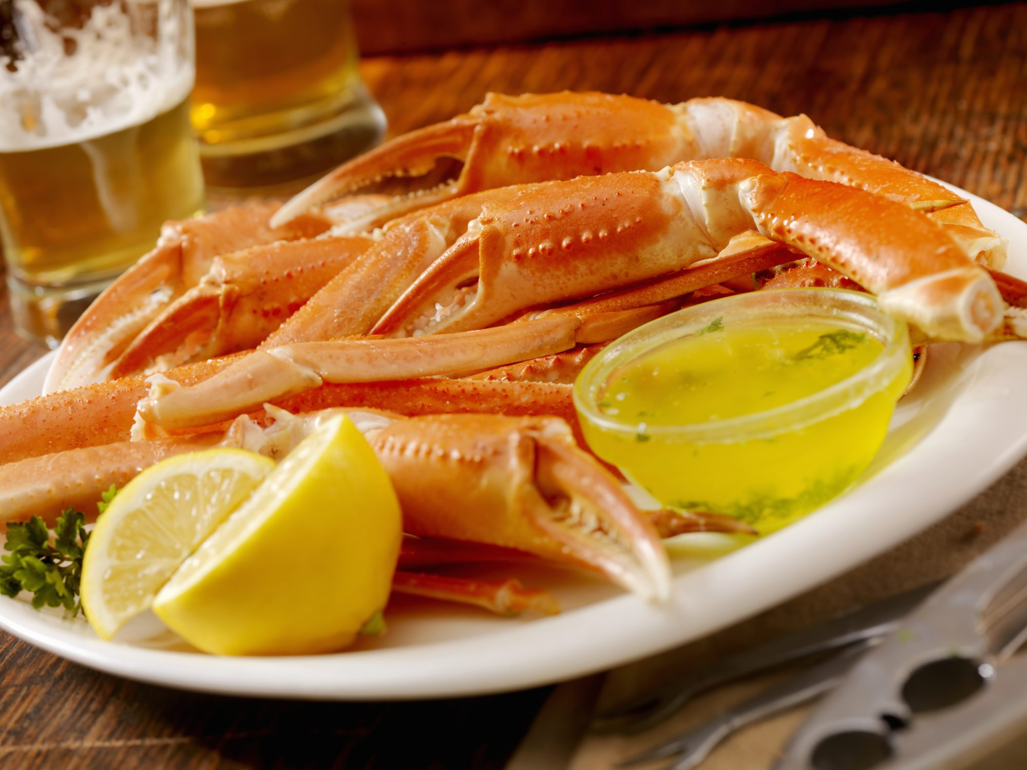 Crab legs with butter and lemon
