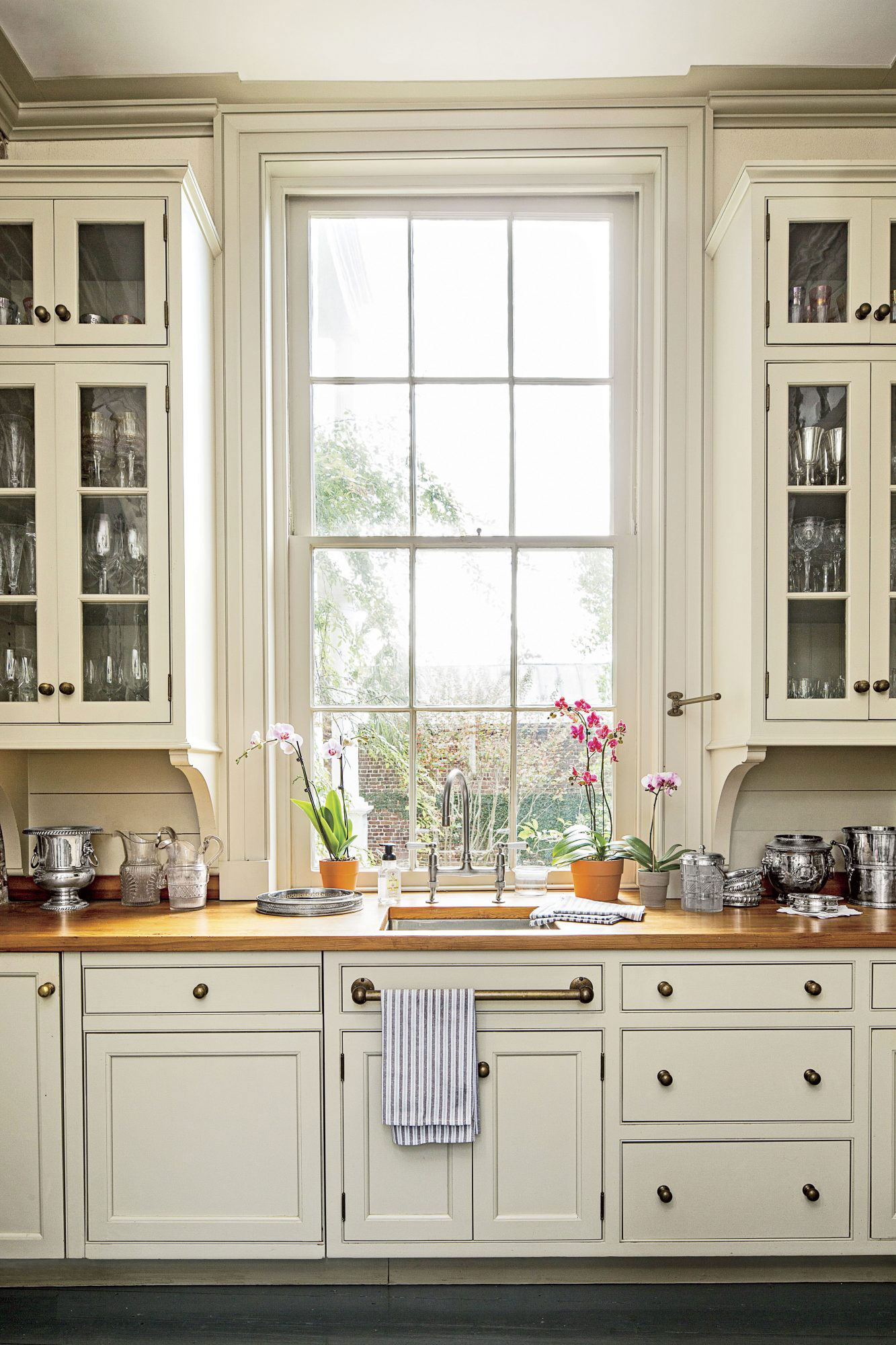 Cottage Kitchen with Butcherblock Countertops
