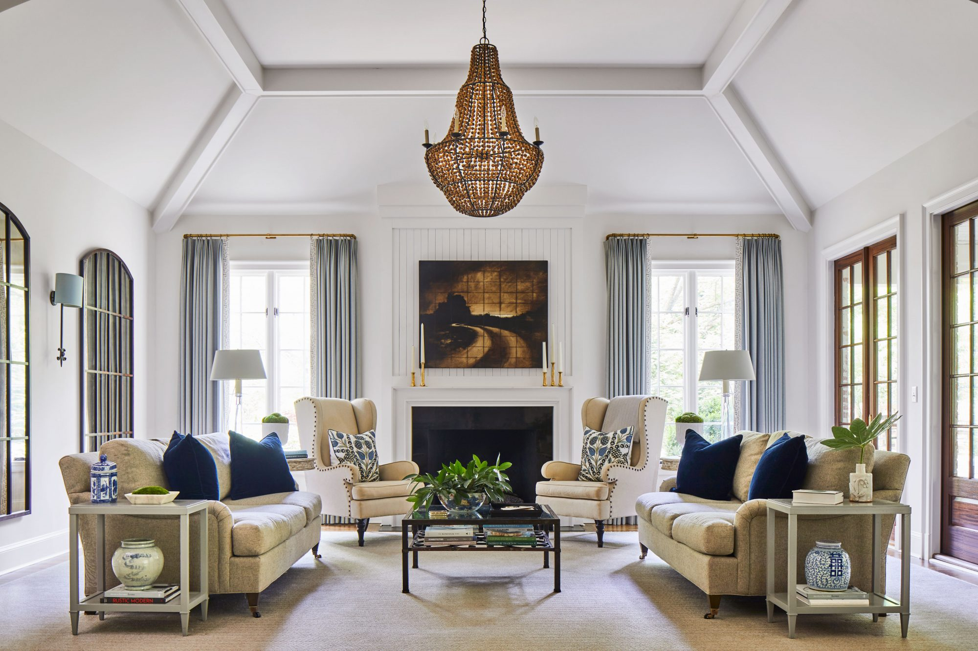 White Living room with vaulted ceiling