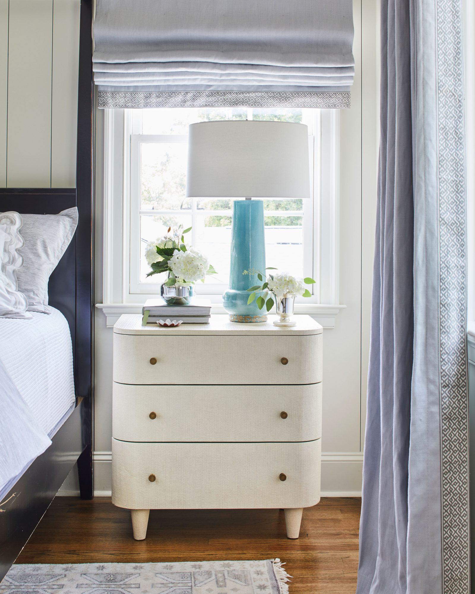 White and Gray Bedroom Nightstand Vignette