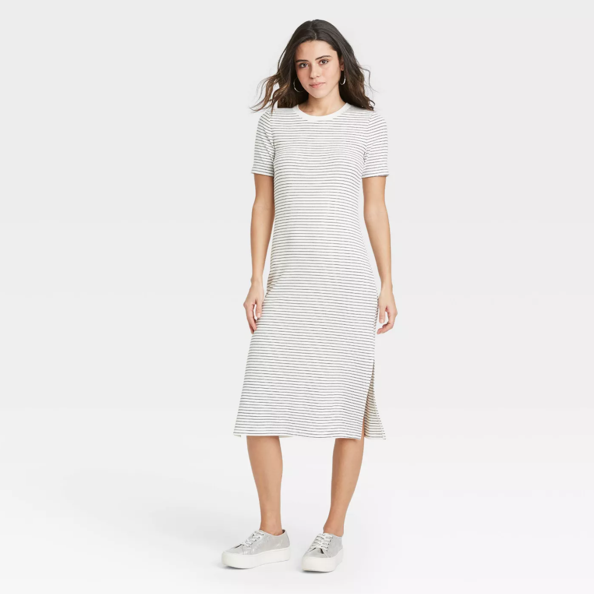 A New Day Short Sleeve Rib Knit T-Shirt Dress
