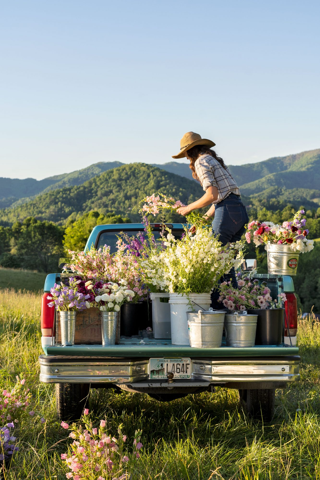 Emily Copus of Carolina Flowers farm on her truck bed