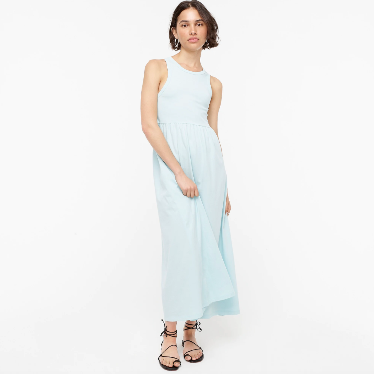 J Crew Knit Cutaway Tank Maxi Dress in Scenic Aqua