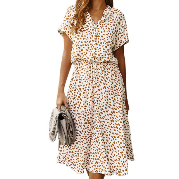 ODIANTRD Polka Dot Ruffled Dress