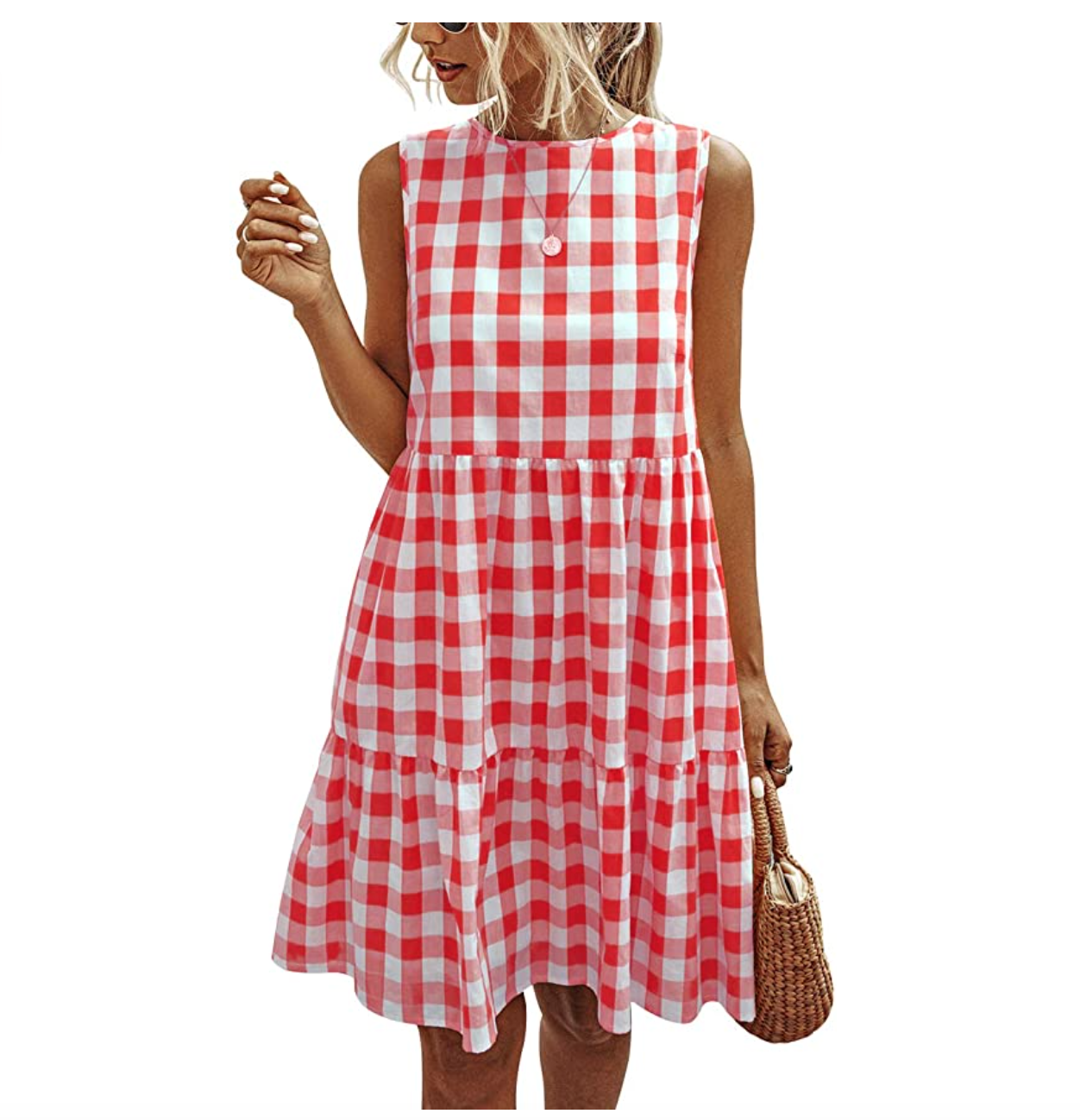 PRETTYGARDEN Plaid Ruffle Sundress