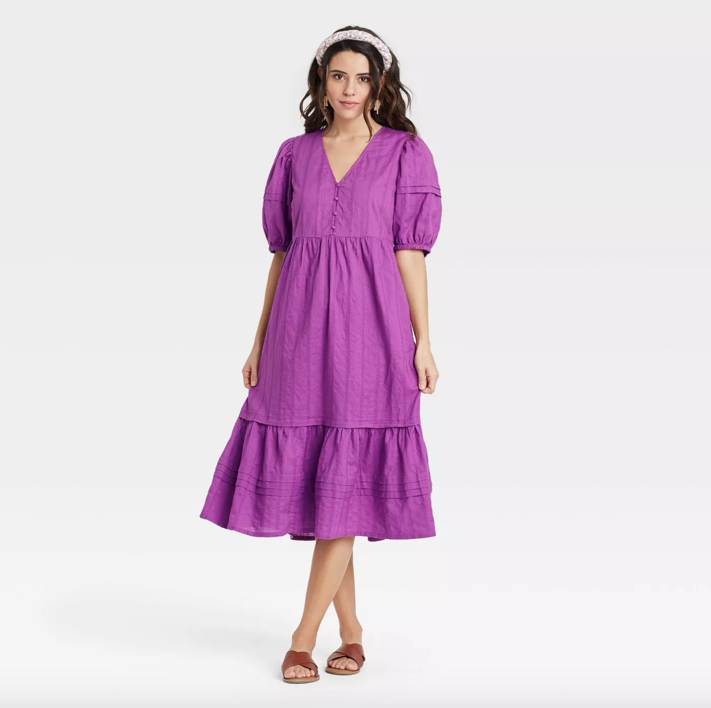 Universal Thread Puff Elbow Sleeve Dress in Purple