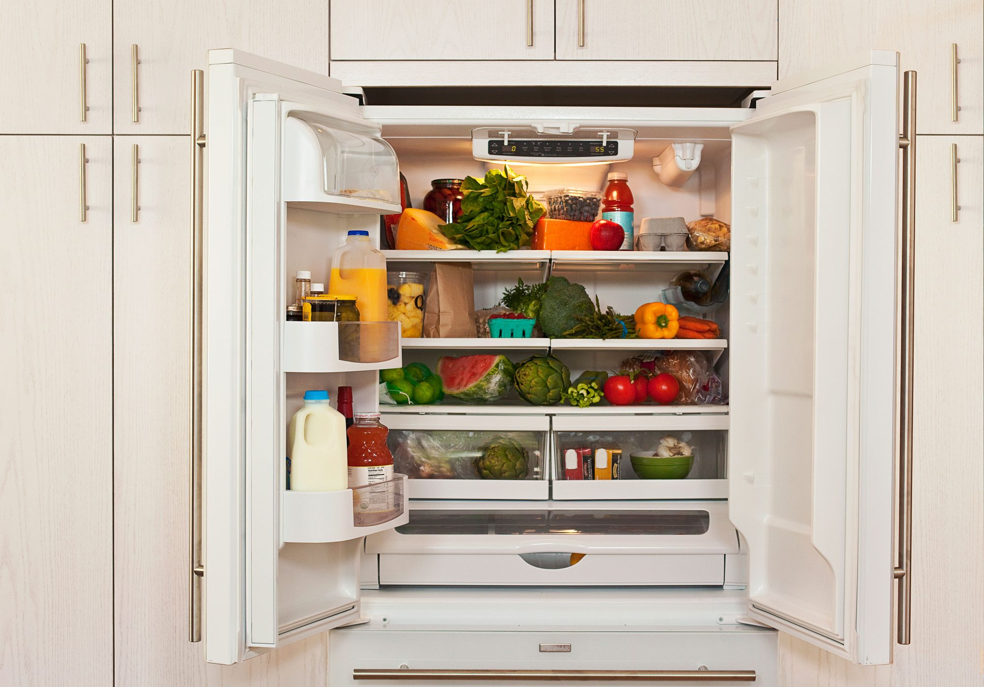 Refrigerator Fruits and Vegetables with Cabinet Fronts