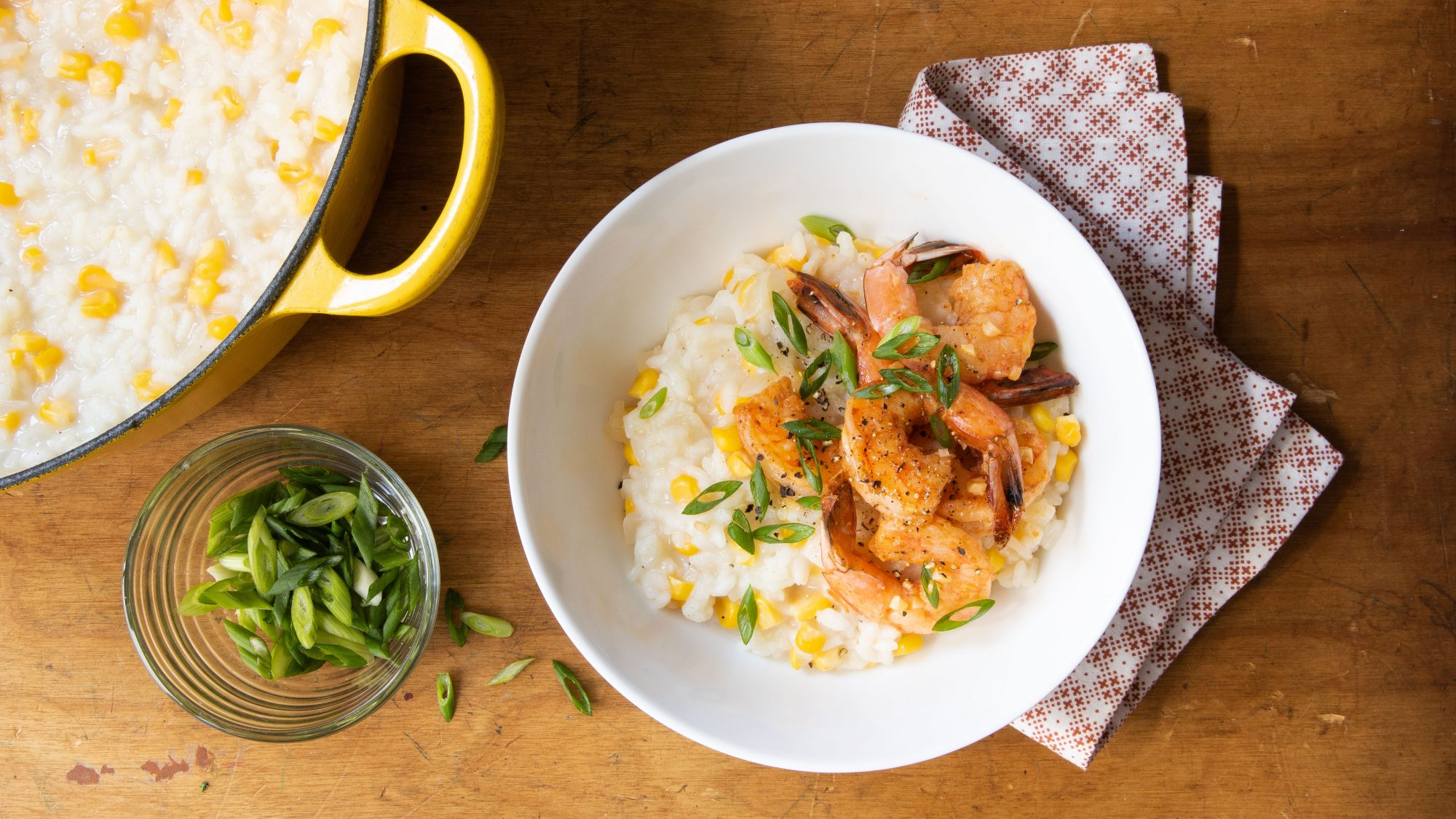 Corn risotto with spicy shrimp
