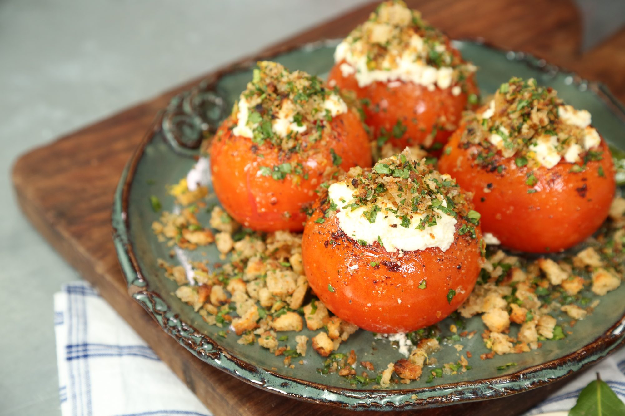 Rob McDaniel Baked Tomatoes with Goat Cheese and Breadcrumbs