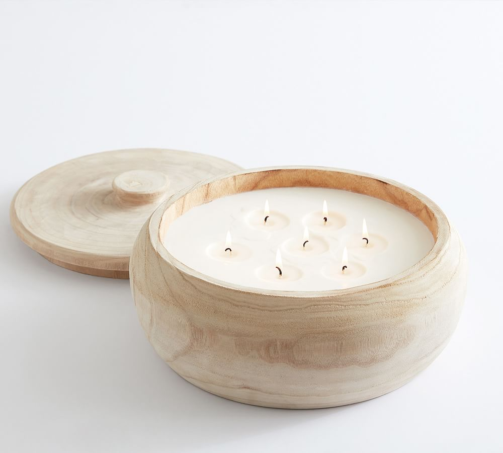 Best Large Citronella Candle: Pottery Barn Wood Citronella Candle With Lid