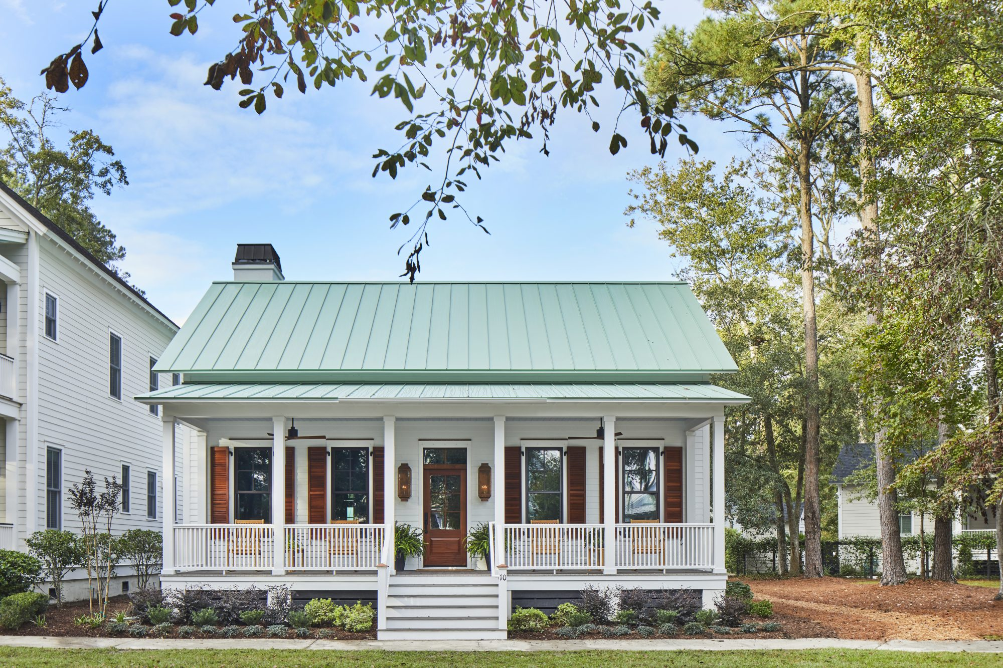 Quaint Southern Lowcountry home built by Allen Patterson Builders with Southern Living house plan, The Loudon, in Habersham Beaufort, South Carolina
