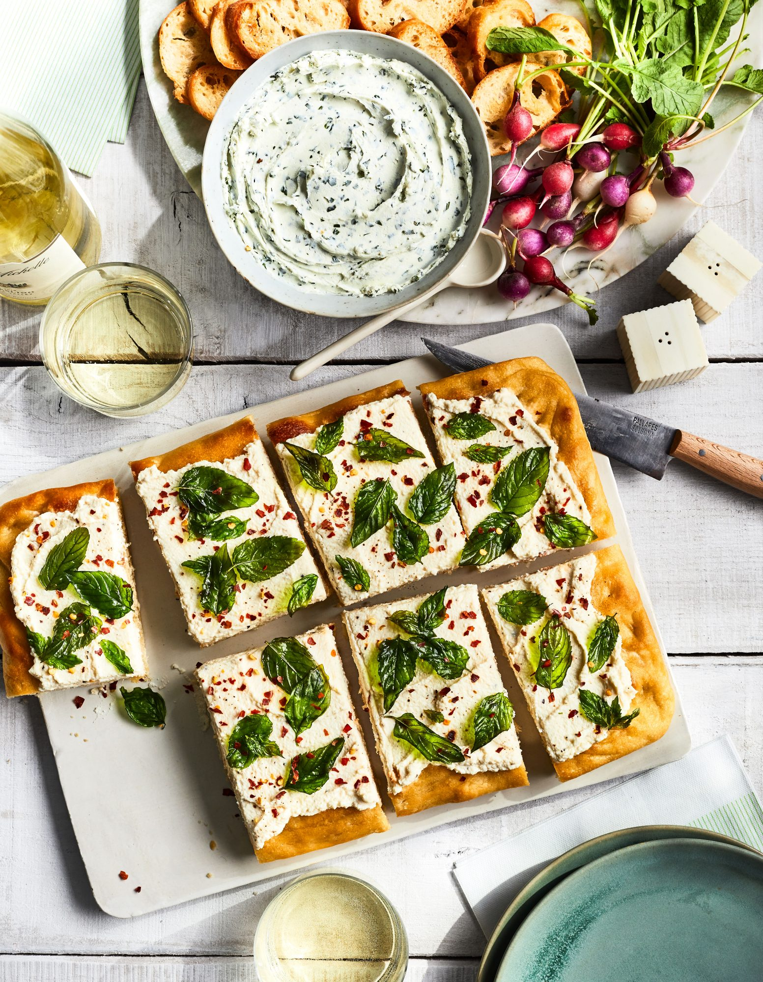 Focaccia with Ricotta and Crispy Herbs