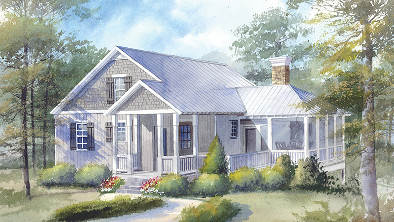 If pretty porches are what you're after, look no further than the Bucketmouth Bungalow. The first story offers three porch variations—a covered entryway, a side deck, and a screened-in area. This plan could appeal to growing families or homeowners aging in place, with the main bedroom and open concept kitchen-and-living areas on the first floor. Kids or grandkids can retreat to the two bedrooms and game room upstairs.                              Three bedrooms, three baths                             1,970 square feet                             See plan: Bucketmouth Bungalow (SL-1382)