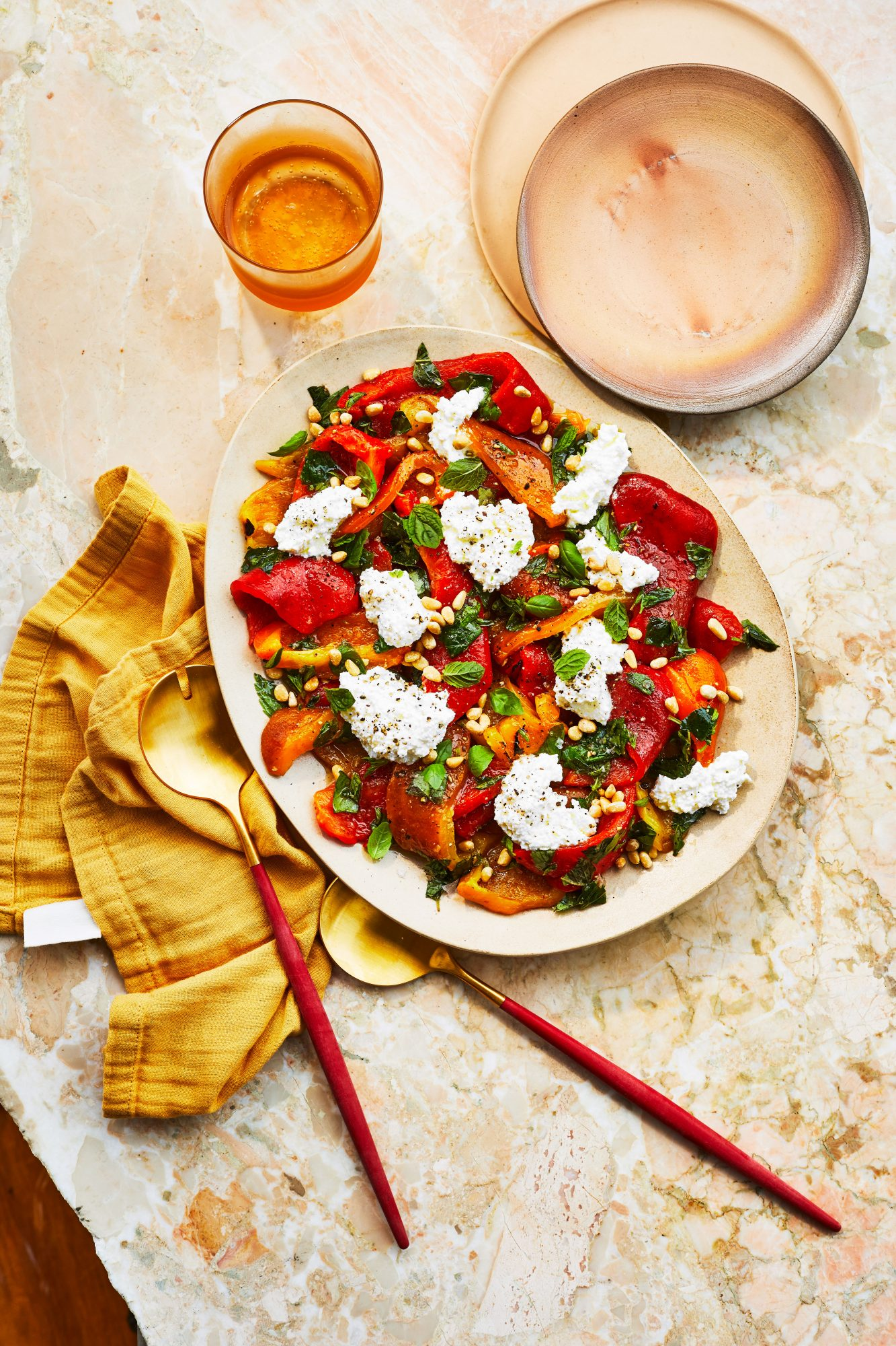Grilled Sweet Pepper Salad With Ricotta And Summer Herbs