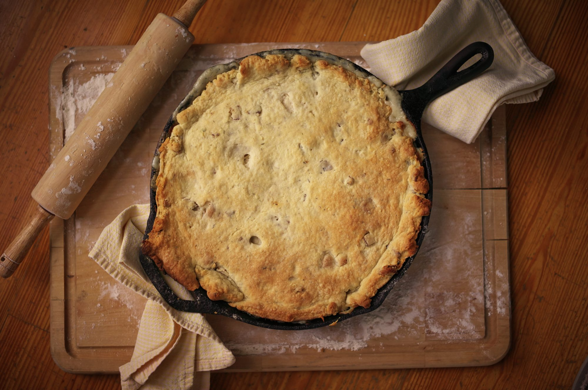 Coq au Vin Pot Pie with Bacon-Thyme Biscuit Crust