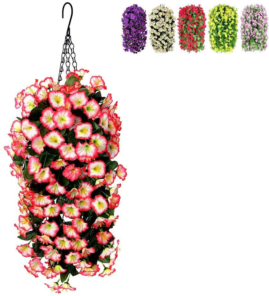 Hanging Basket with Silk Flowers