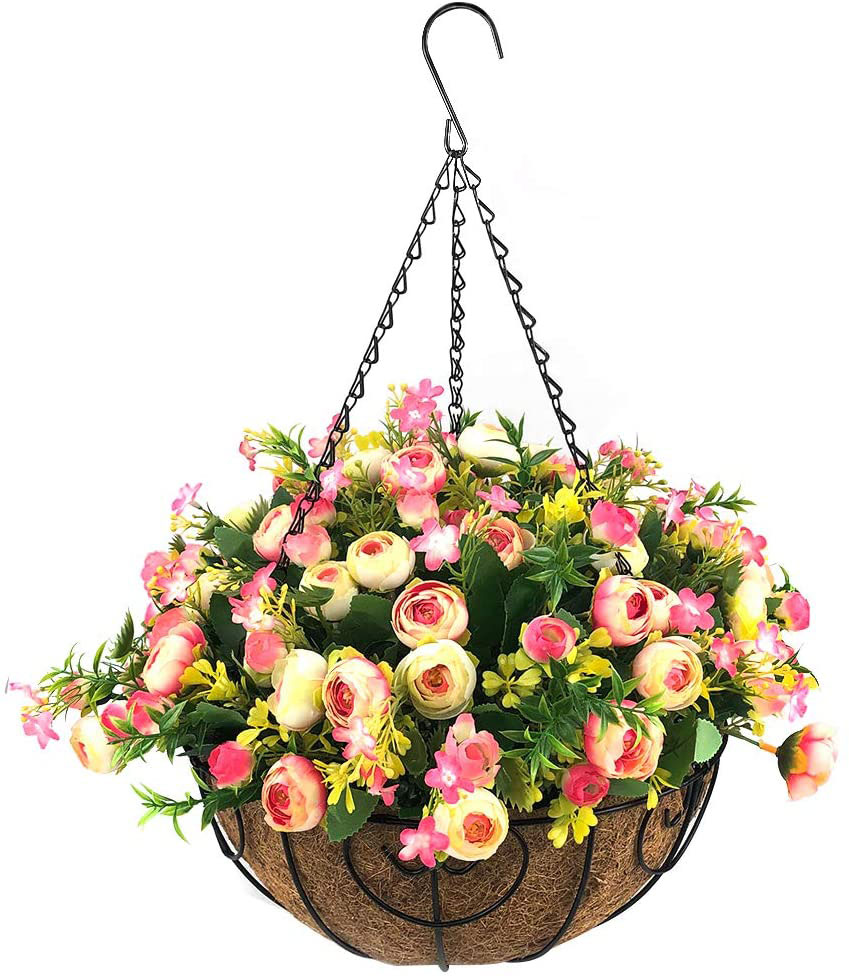 Homsunny Artificial Hanging Flower Basket with Silk Roses and Daisies