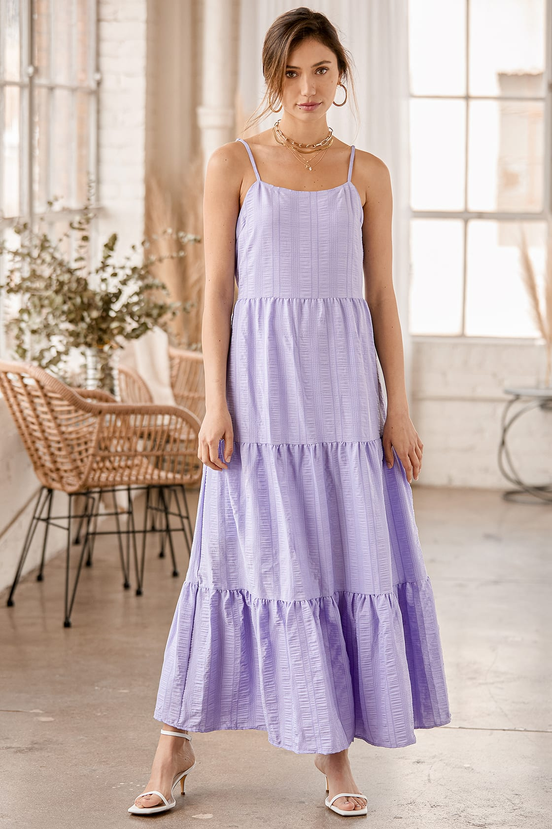 Lulus Magical Soiree Lavender Sleeveless Tiered Maxi Dress
