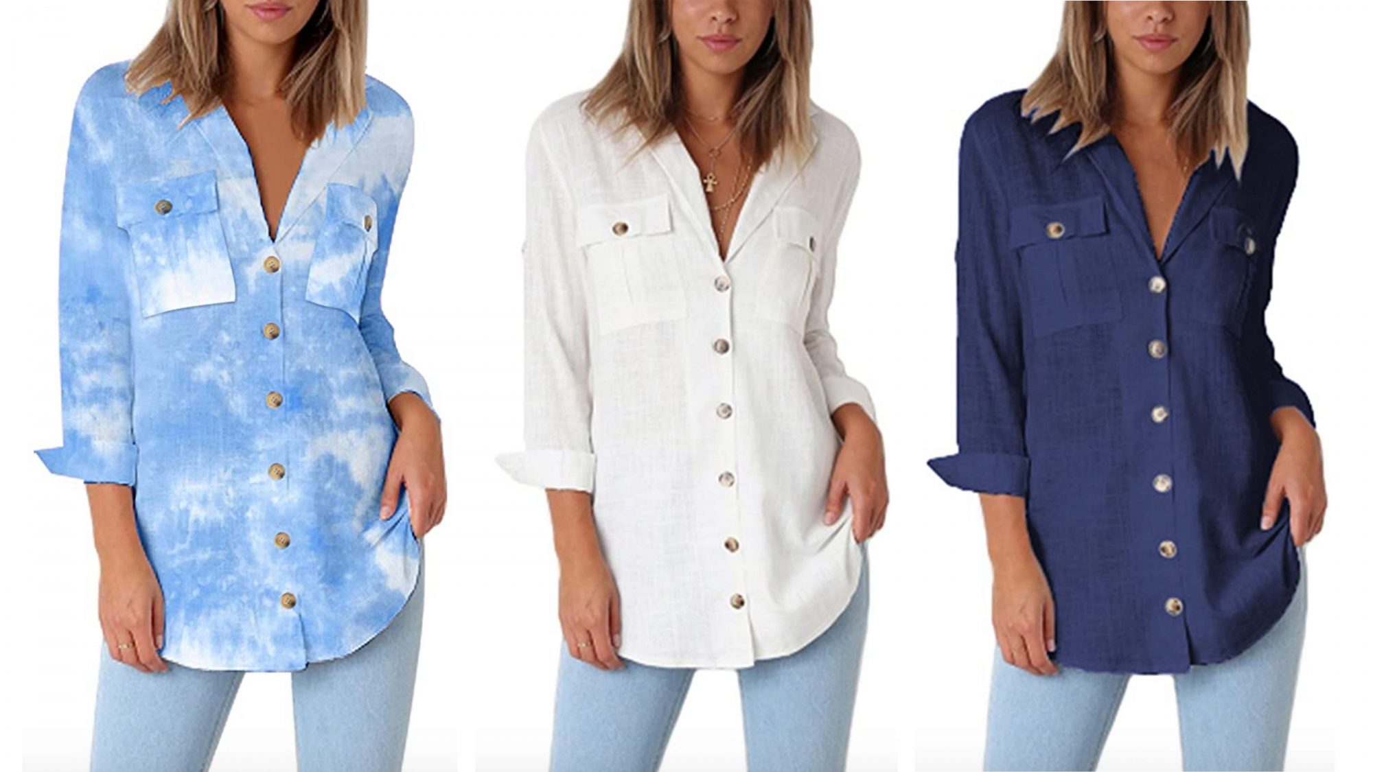 GRAPENT Women's Casual Loose Roll-Up Sleeve Blouse