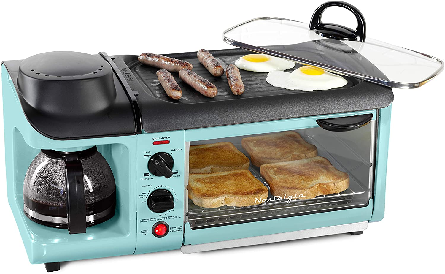 Nostalgia Retro 3-in-1 Family Size Toaster Oven, Coffee Maker, and Griddle