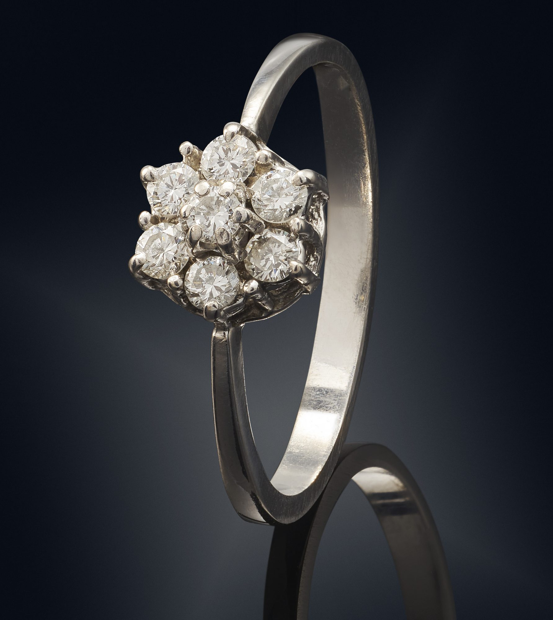 Cluster Style Diamond Engagement Ring