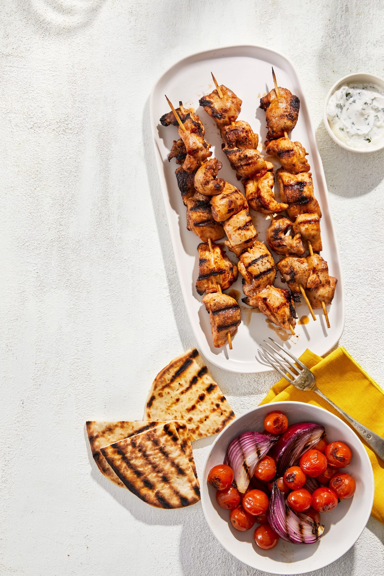 Spiced Chicken and Veggie Kebabs With Grilled Pita Bread
