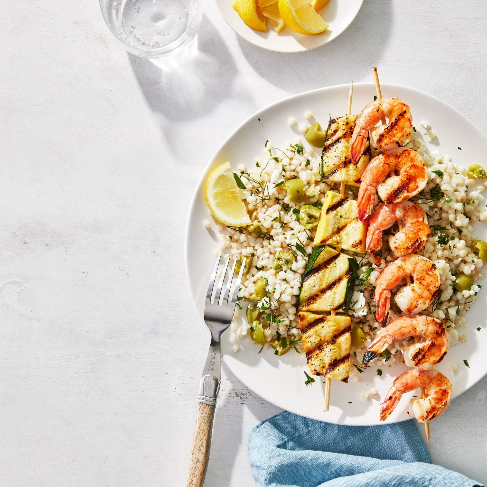 Grilled Shrimp and Squash Skewers with Herbed Couscous