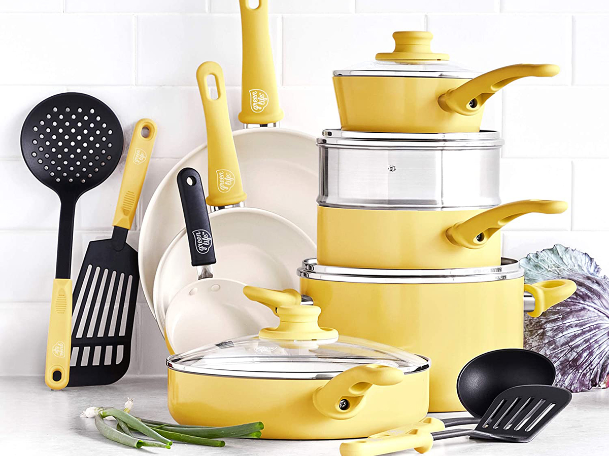 GreenLife Soft Grip Healthy Ceramic Nonstick Yellow Cookware Pots and Pans Set