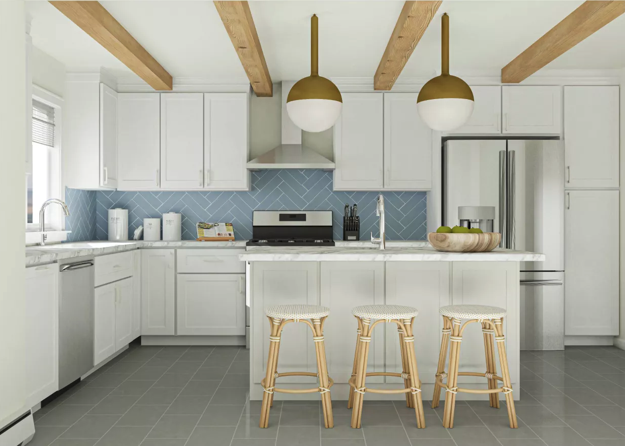 Scandinavian-style kitchen with two orb chandeliers, white cabinets, bar stools, and a tile backsplash