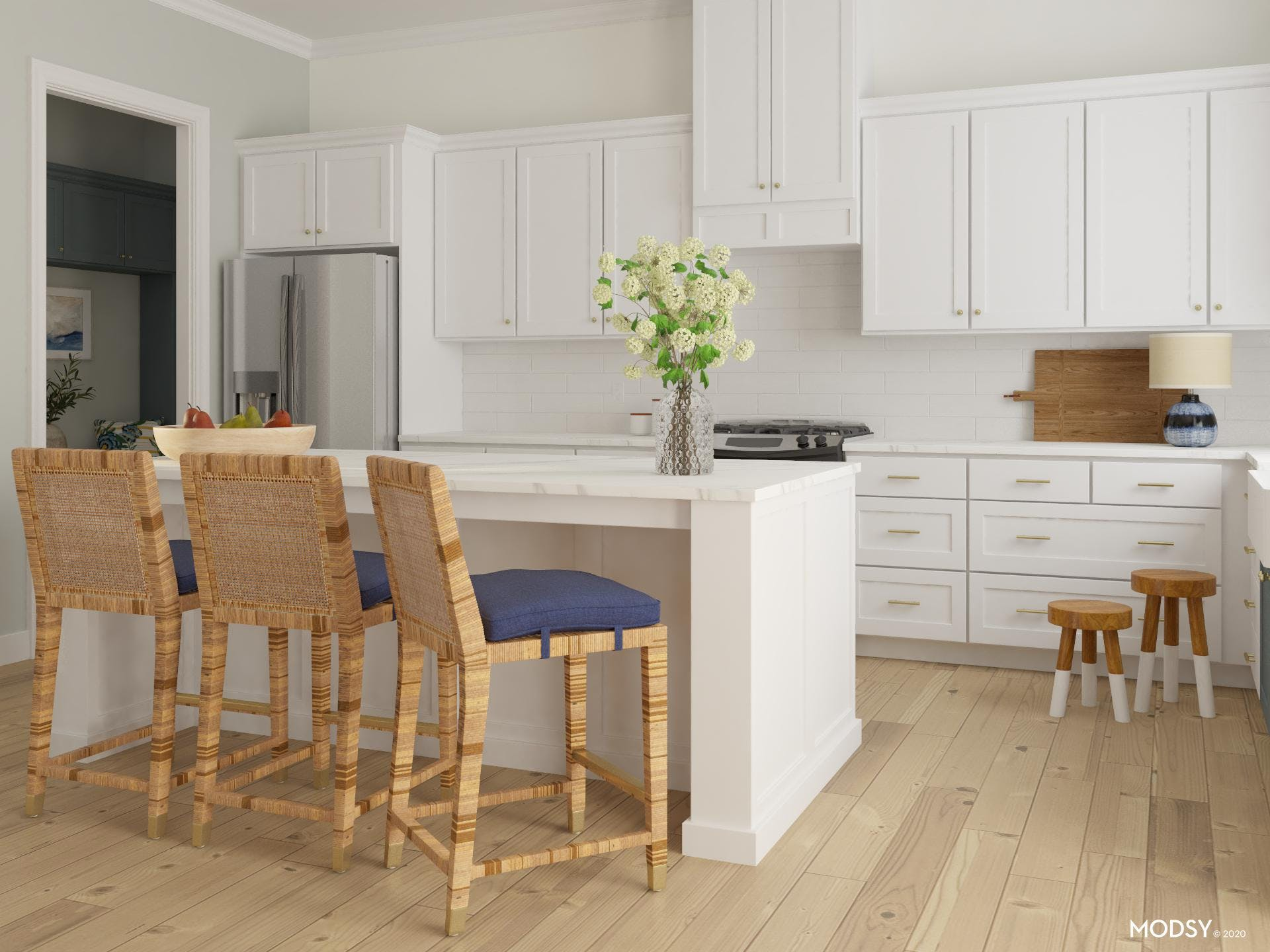 Scandinavian-style kitchen, white cabinets and light wood floors