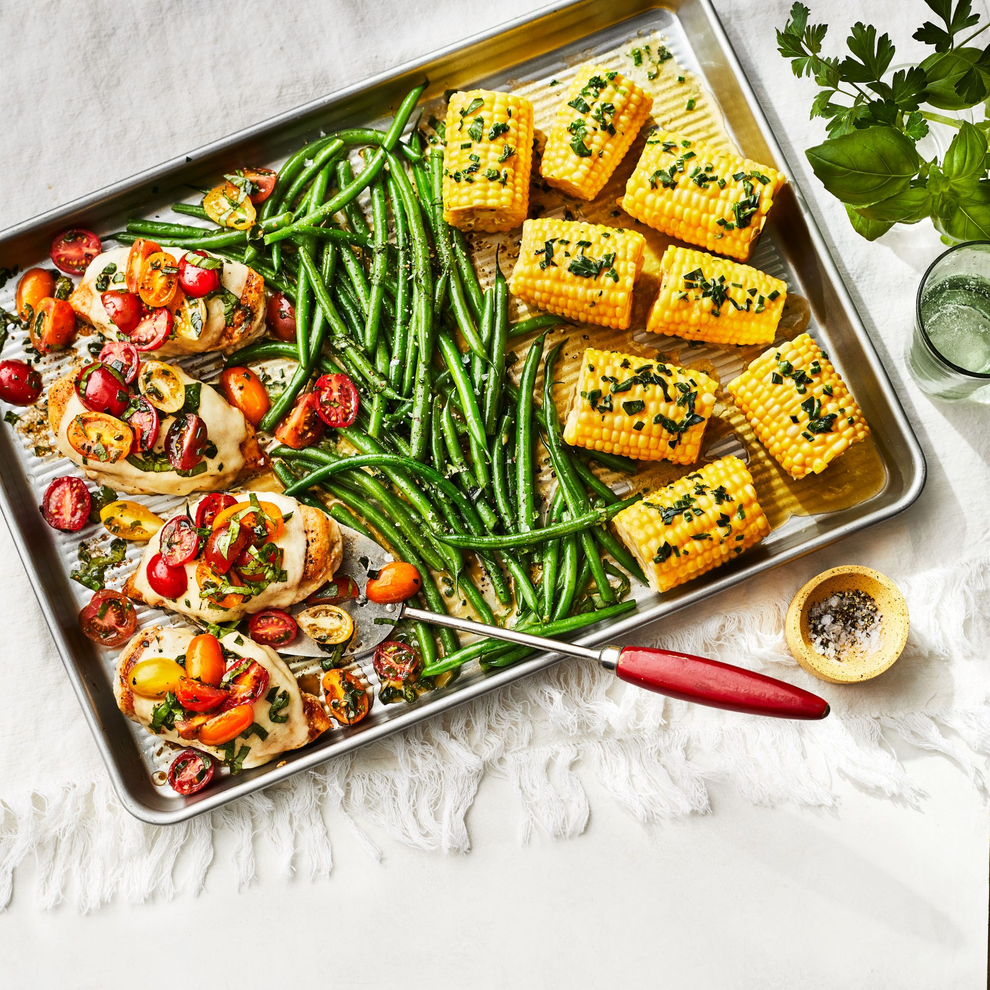 Baked Caprese Chicken With Green Beans and Corn