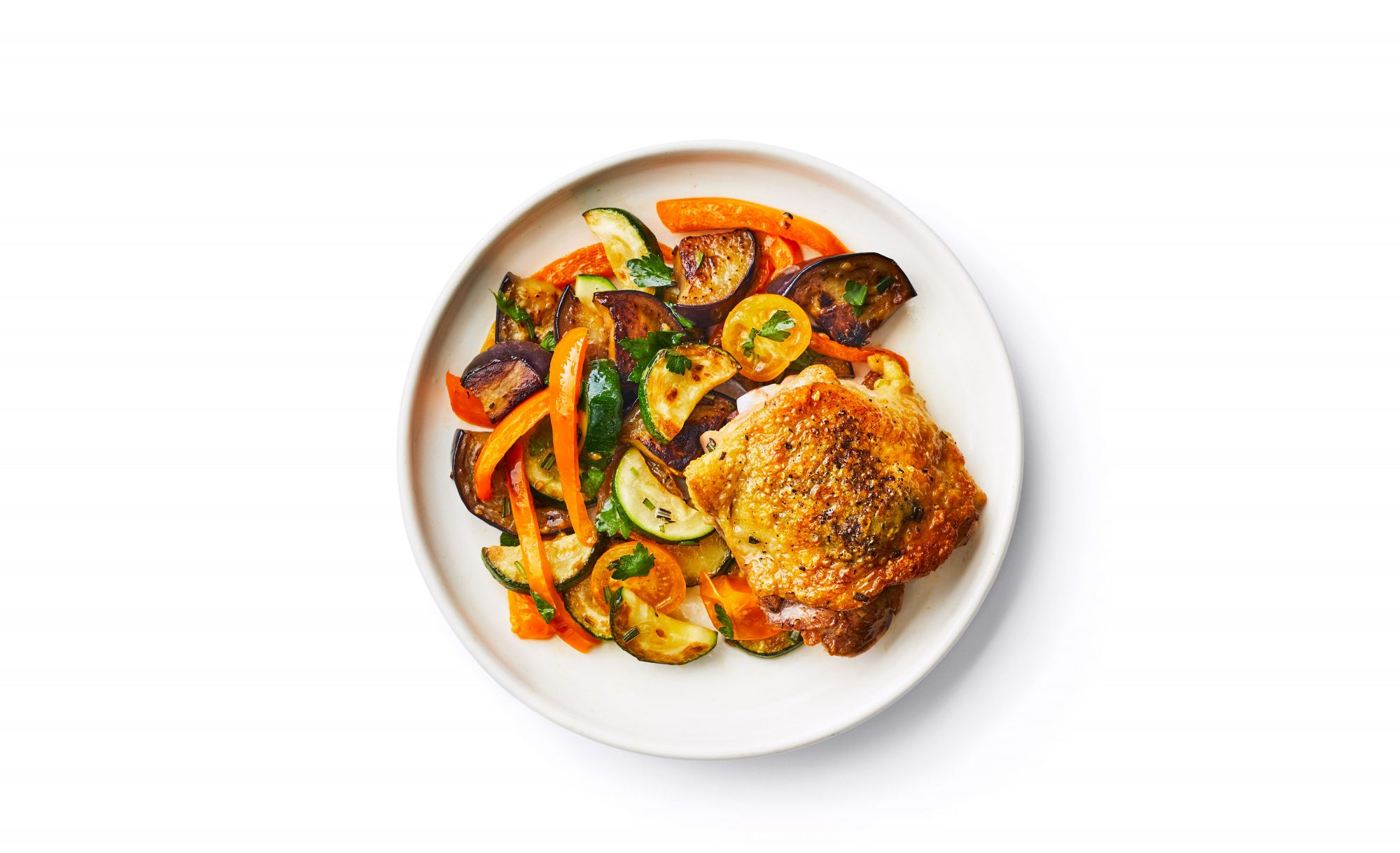 Rosemary Chicken Thighs With Summer Vegetables