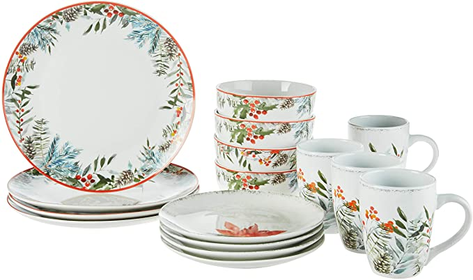 American Atelier Floral Winter Holiday Dinnerware