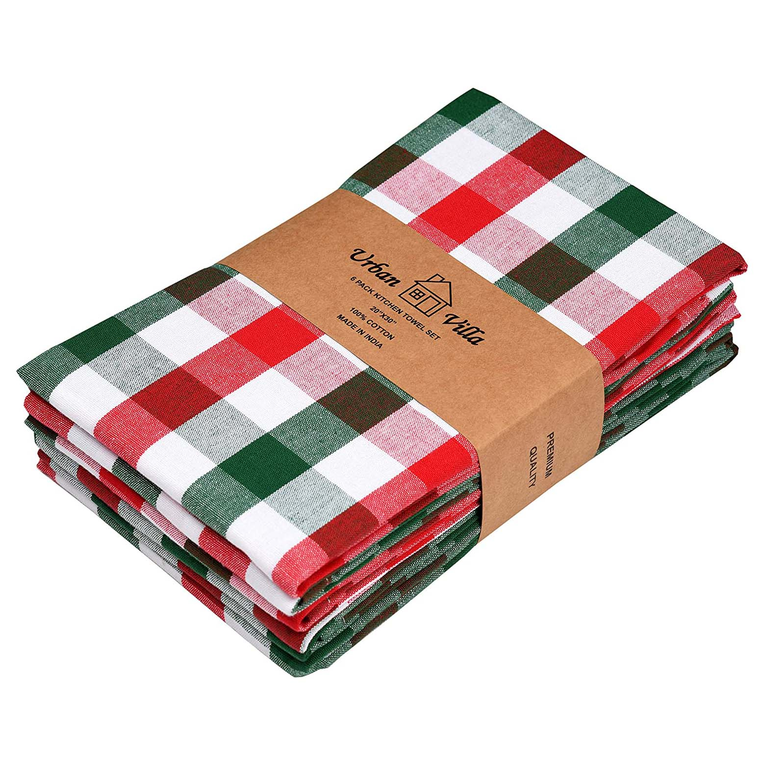 Red & Green Buffalo Check Kitchen Towels