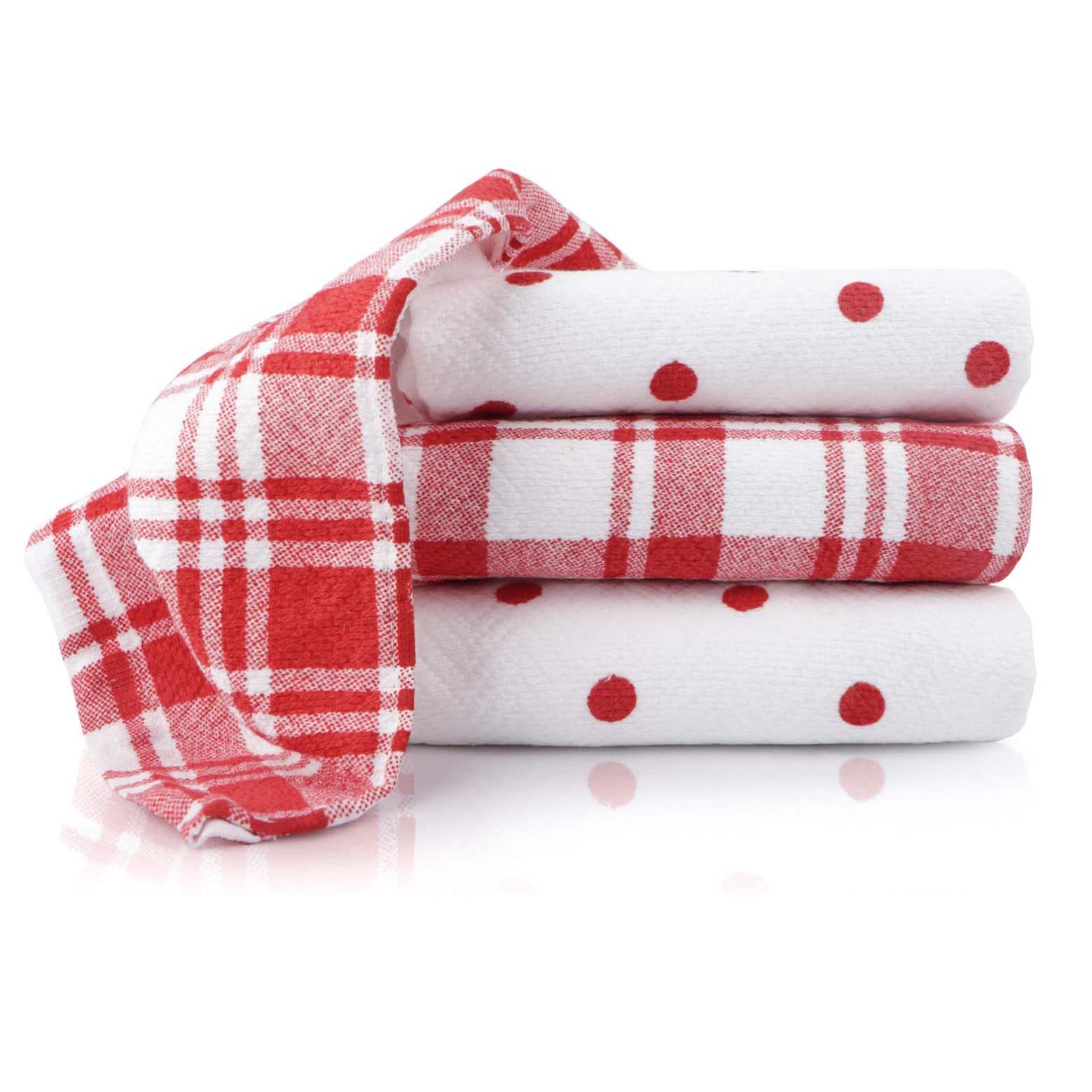 Patterned Red and White Kitchen Towels