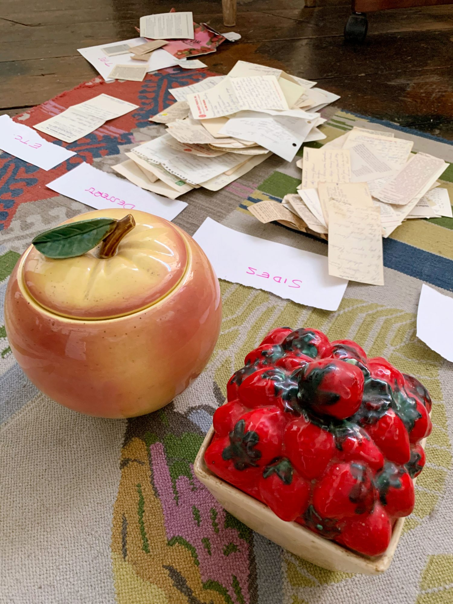 These large, fruit-shaped ceramic canisters were stuffed full of Mammaw's handwritten recipes.