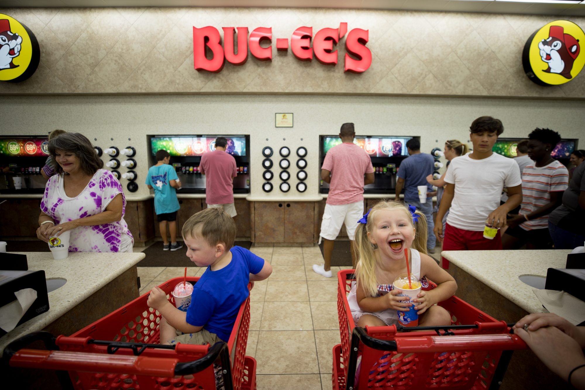 Kids in Shopping Carts at Buc-ee's