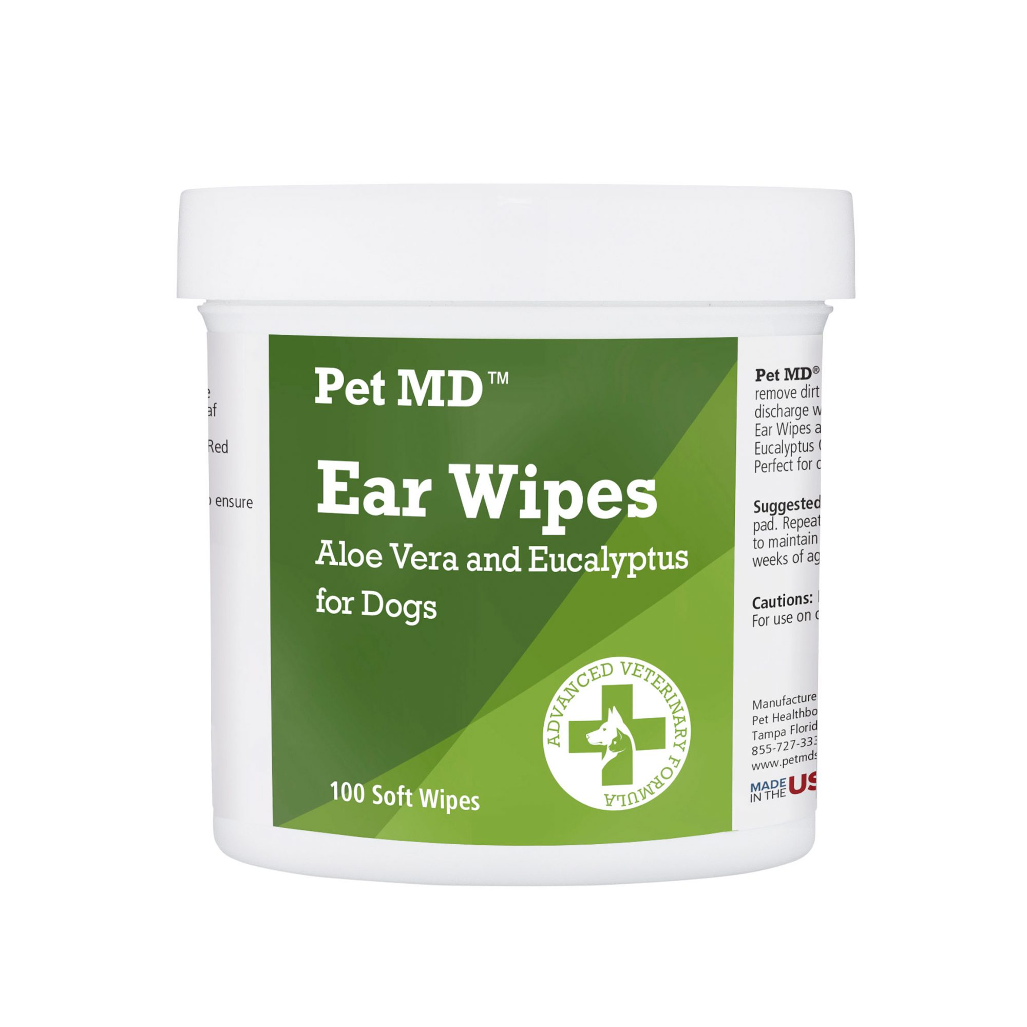 Pet MD Ear Wipes with Aloe Vera and Eucalyptus for Dogs
