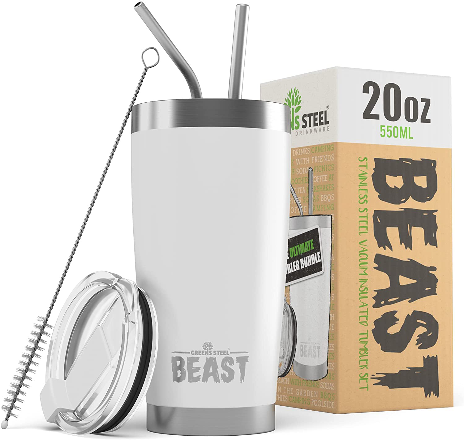 BEAST 20oz Stainless Steel Cup with 2 Straws